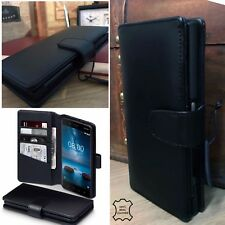Genuine Cowhide Real Leather Black Wallet Case Folio Designed For Nokia 8