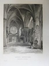 1836 print; Oxford Catherdral, North Isle of the choir, Oxford