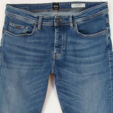 Mens HUGO BOSS 040 TABER Stretch Tapered Fit Blue Jeans W34 L34
