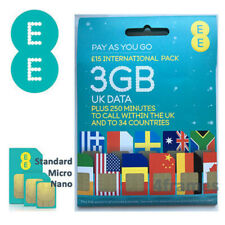 Paquete internacional de EE Tarjeta Sim pago según el uso Mini, Micro & Nano UK