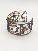 Artisan Bronze Tone Red Yellow Bead Open Wire Cuff Wide Bracelet