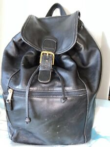 VTG COACH Unisex Backpack XL X Large Black Leather Rucksack 0529 Travel Tote
