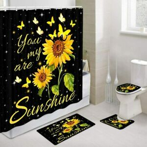Sunflowers Butterfly Shower Curtain Set, Mat Contour Toilet Mat Toilet Lid Cover