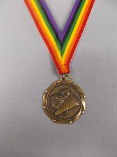 "Team Lot Of 15 Cheerleading trophies medal award rainbow neck drape 1 3/4"" dia"