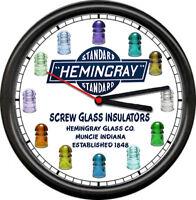 Hemingray Screw Electrical Glass Insulators Muncie IN Depression Sign Wall Clock