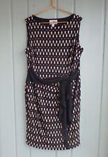 Joseph Ribkoff Diamond Printed Sleeveless Dress Womens 18 Black Beige Career