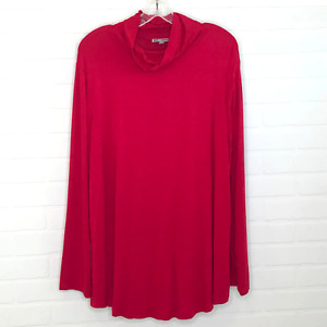JM Collection Woman Mock Turtleneck Sz 3X Red NWT Long Sleeve Stretch Plus