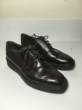 PRADA Dark Wine Brown Platform Glossy Leather Oxfords Brogue Dress Shoes FR 38.5