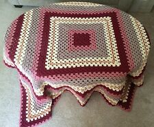 """Hand Crocheted Granny Square Afghan - 60"""""""