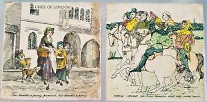 2 Vintage English Tile 6x6 Cries Of London Horse Knight Merchant Ceramic