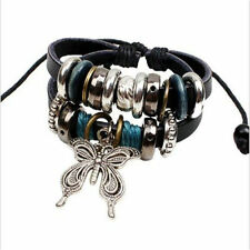Fashion Infinity Leather Charm Bracelet Silver lots Beads Style Jewelry  NEW