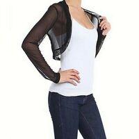 Womens Long Sleeve Bolero Shrug Sheer Mesh Cropped Cardigan Top Sweater Pullover