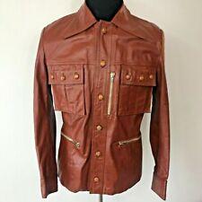 Vintage 1970s Lavion L'Avion Brown size 40 M Genuine Leather Leisure Jacket Cj