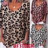 Women Leopard Print Short Sleeve Loose Comfy T Shirt Casual Blouse Top Plus Size