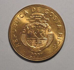 2007 Costa Rica 500 Colones Large World Coin Rising Sun Volcanoes Old Ship Boat