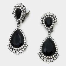 """2.75"""" black clear teardrop crystal rhinestone clip on earrings non pierced"""