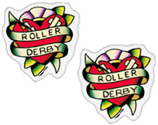 23101 Bruised Roller Derby Hearts Tattoo Pair Set of 2 Mini Stickers / Decals