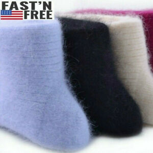 100% Wool Cashmere Crew Socks Women 3 Pack Thicken Casual Solid Warm Winter 7-9