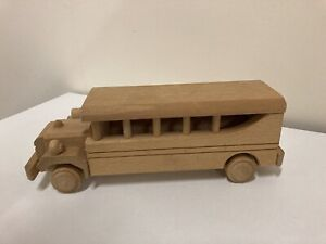 Large Solid Wooden School Bus Toy