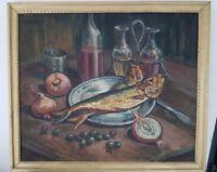 Peinture sur toile signée. Painting signed  nature morte aux poissons
