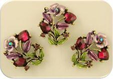 Rose Flower Beads Amethyst Swarovski Crystal Elements Gold 2 Hole Sliders QTY 3