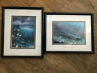 2 Double Matted Wyland Marine Art Prints: Kissing Dolphins and Sea Turtle Fishes