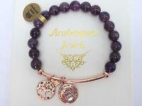 GENUINE ARABESQUES Amethyst healing crystals bracelet Live Laugh Love/Tree life