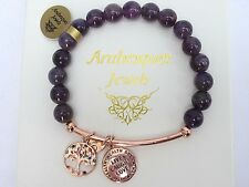 GENUINE ARABESQUES Amethyst healing crystals bracelet Live Laugh Love/Tree life