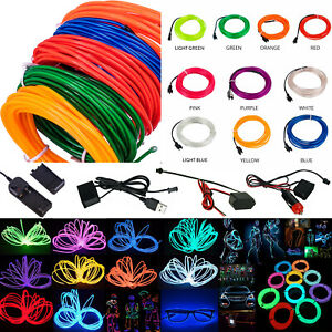 1-5M Neon Glow EL Wire Flexible LED RopeLamp Cable with Adapter Party Car Decor