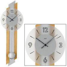 AMS quarzo Orologio da parete a pendolo Faggio Argento / color legno NUOVO