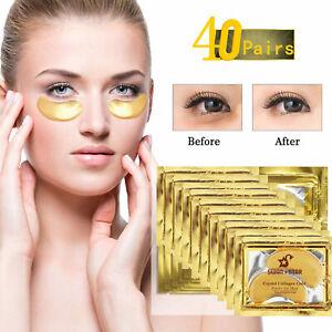 40Pairs 24K Gold Gel Collegan Eye mask Crystal Anti Aging eye pad Eye Bag Remove