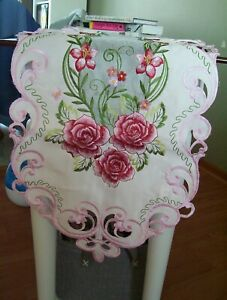 """New Beautiful Pink Floral Rose Embroidered Table Runner or Mantle Scarf 69x13.5"""""""