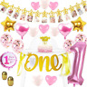 32pc Baby Girl 1st Birthday Party Decorations Set Baby Shower Banner Balloons
