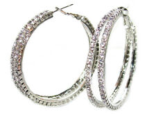 Double Hoop Crystals From Swarovski® 18kt White Gold Electroplate Earrings.