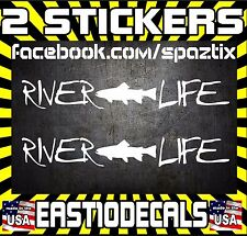 x2 RIVER LIFE Brown Trout fishing sticker vinyl car sticker decal fly fishing