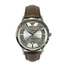 PRE-ORDER Emporio Armani Classic Silver Dial Brown Leather Strap Watch AR246