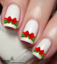 Xmas Christmas Red Ribbon Nail Art Sticker Water Transfer Decal Tattoo 58