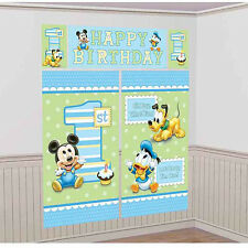 MICKEY MOUSE 1st BIRTHDAY WALL POSTER DECORATING KIT ~ First Party Supplies