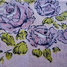 220cm x 90cm Vintage Cotton Fabric 1960s Purple Roses Floral On Pink