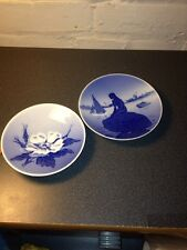Vintage Miniature Royal Copenhagen Langelinie And Dogwood Flower Plates Denmark
