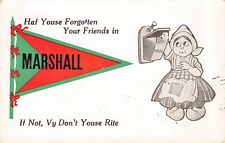 """""""Haf Youse Forgotten Your Friend"""" in Marshall Wisconsin~Checks Mail~1916 Pennant"""