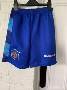 "Retro 90s MANCHESTER UNITED Football Goalkeeper Shorts 95-97 Size 28"""