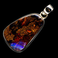 """Boulder Opal 925 Sterling Silver Pendant 1 3/4"""" Ana Co Jewelry P718211F"""