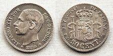 ESPAÑA-Alfonso XII. 50 centimos 1880*8-0. Madrid. MBC+/VF+. Plata 2,6 g.