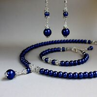 Midnight blue pearls collar necklace bracelet earring wedding jewellery set