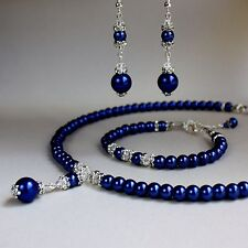Midnight blue pearls collar necklace bracelet earring wedding jewellery set