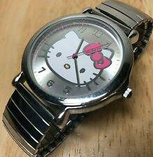 Sanrio Hello Kitty Large 43mm Silver Stretch Analog Quartz Watch Hour~New Batter
