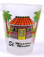"""St Maarten Beach House Palm Trees Floral 2.25"""" Frosted Collectible Shot Glass"""