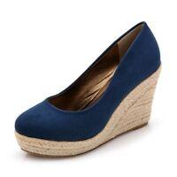 NEW Stunning Womens Suedette High Heels Wedges Shoes Sz 1-10.5(AM12003)