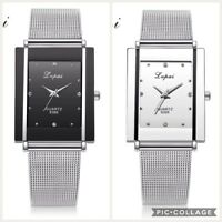 New Men Women Stainless Steel Mesh Band Analog Quartz Unisex Watch UK